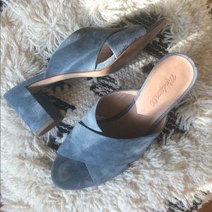Madewell Blue Suede Leather Mule Heels 9.5